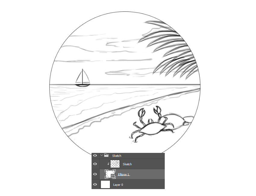 Create a Sketch of a Beach Scene with a Hard Round Brush