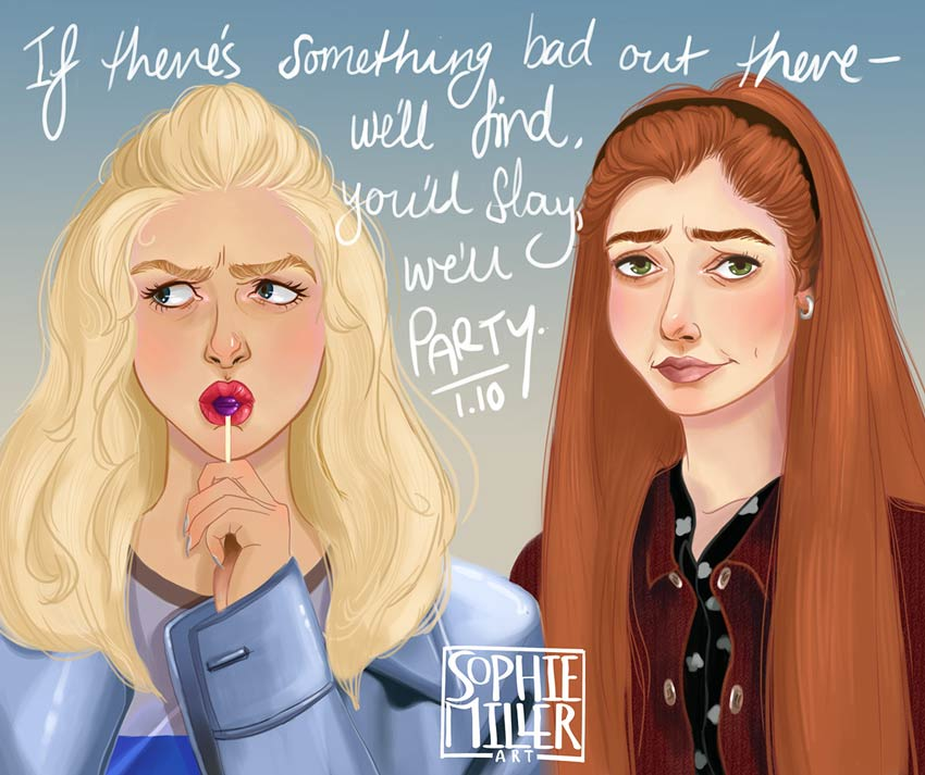 Buffy and Willow Painting by Sophie Miller