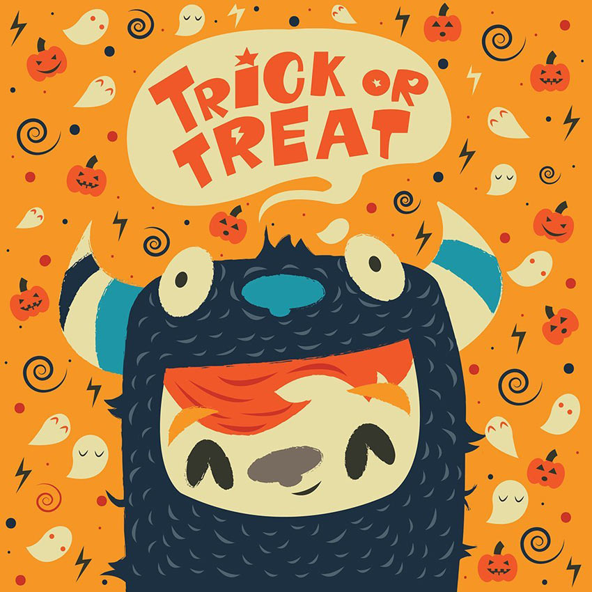 Illustrator Trick or Treat Illustration by Anna Barbulescu