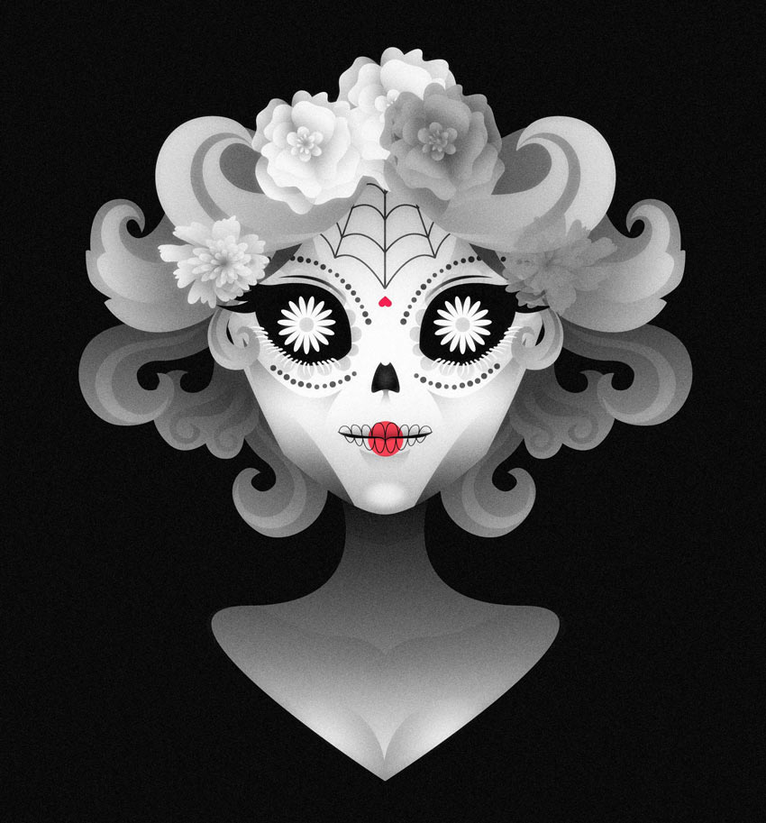 Adobe Illustrator Calavera Portrait by Karen