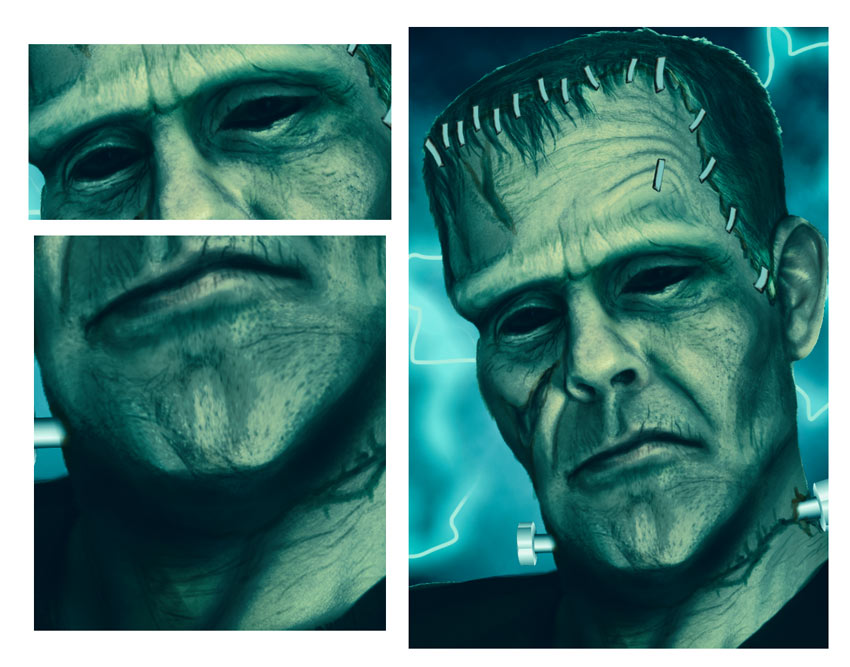 Draw Wrinkles All Over Frankensteins Skin