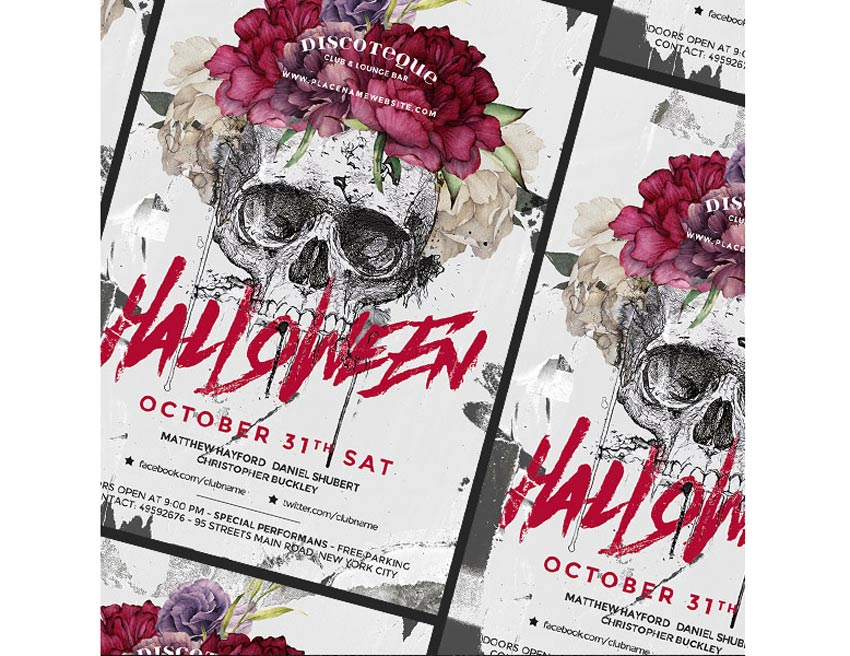 Skull and Flower Halloween Flyer