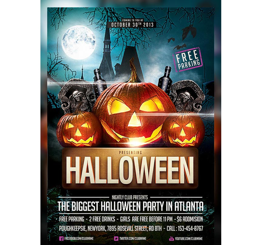 64 awesome halloween invitations and flyers for your spooky celebrations pumpkin trio halloween party template toneelgroepblik Images
