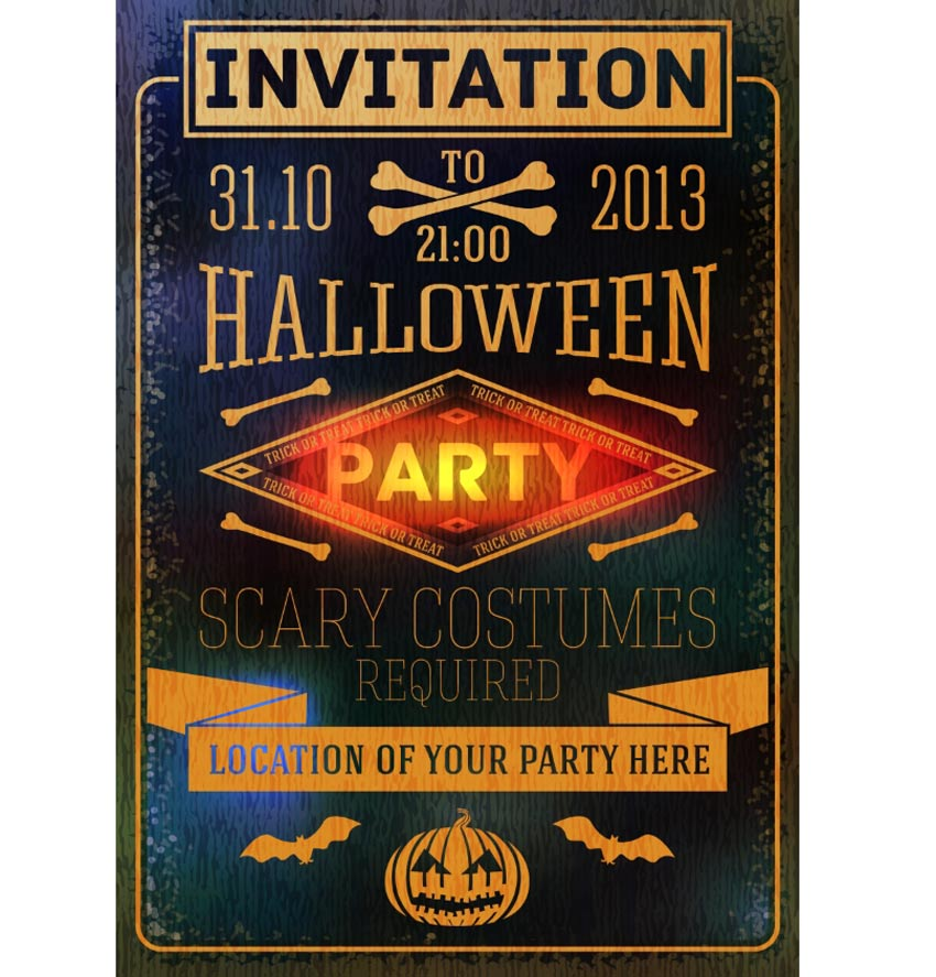 Glowing Halloween Party Invitation