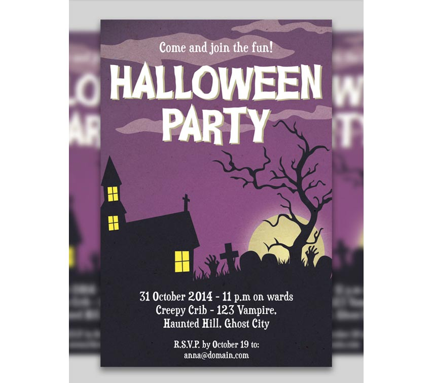 Purple Halloween Party Invitation
