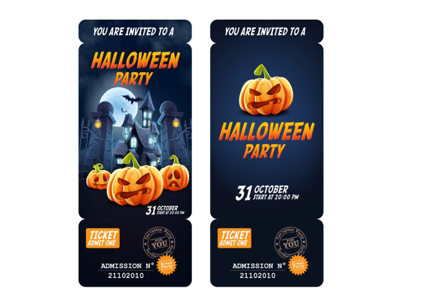 Admission Ticket  Halloween Invitation - Pumpkin Edition
