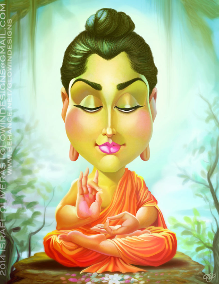 Siddhartha Gautama Caricature Art by Israel Oliveras  International Artist Feature: Puerto Rico israel3
