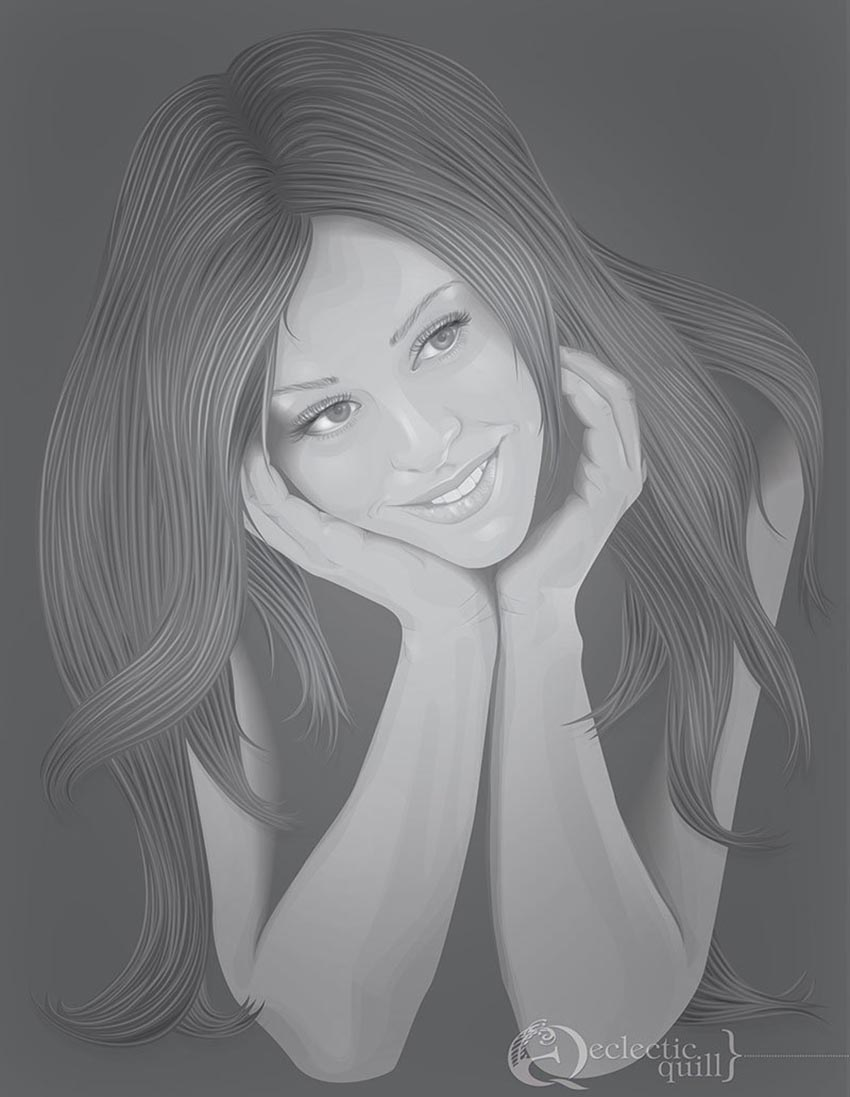 Long Hair Vector Portrait by Dana