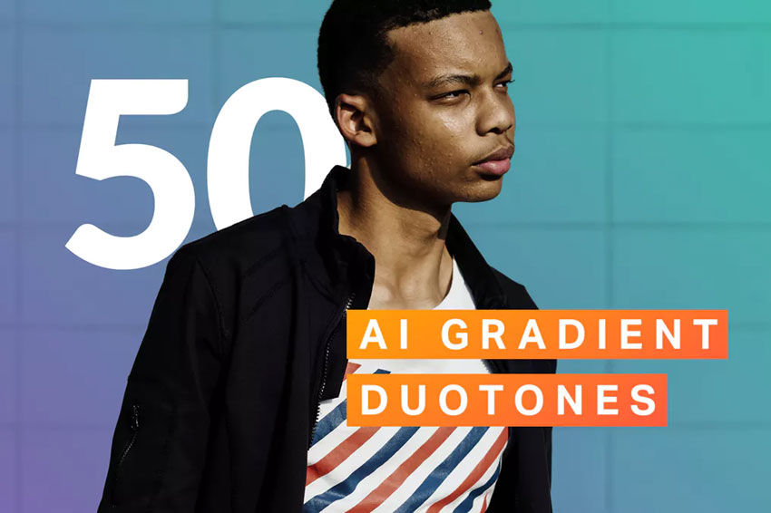50 AI Gradient Duotone Photoshop Actions Download