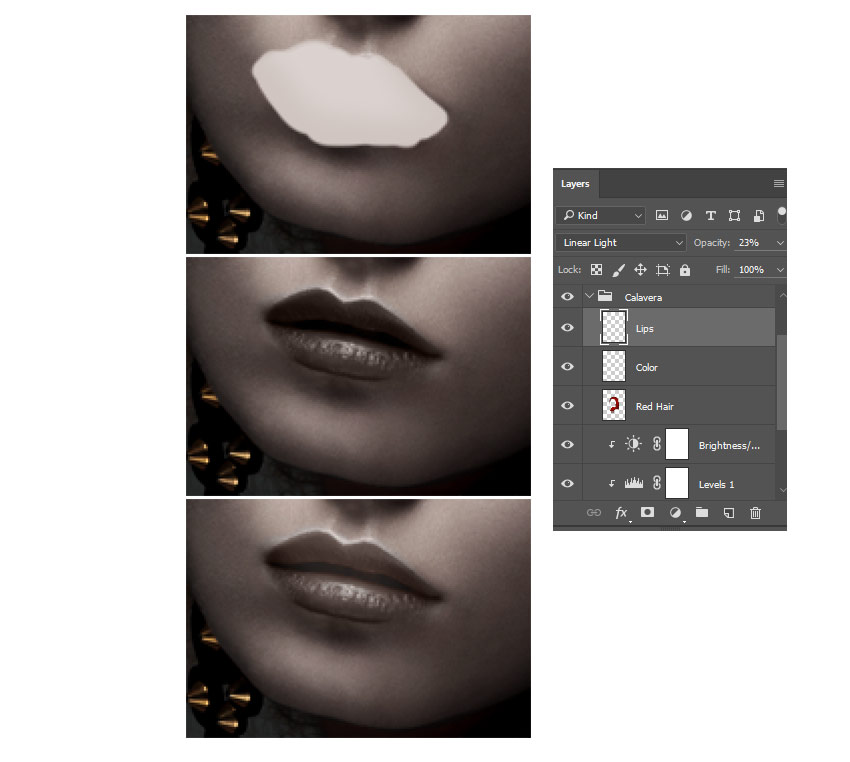 Color the Lips with Layer Blend Modes
