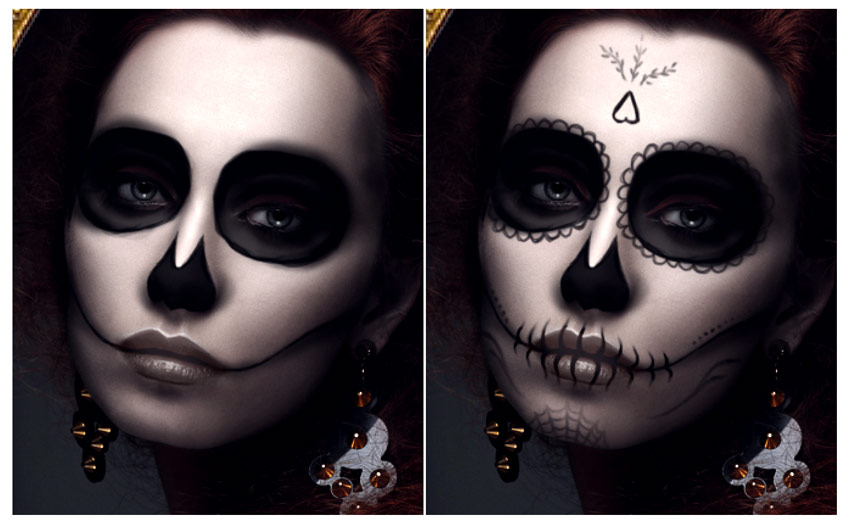 Draw more details for the calavera makeup