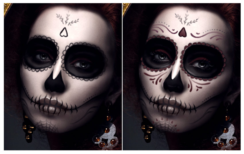 Paint Red Details for the Dia de los Muertos Face Makeup