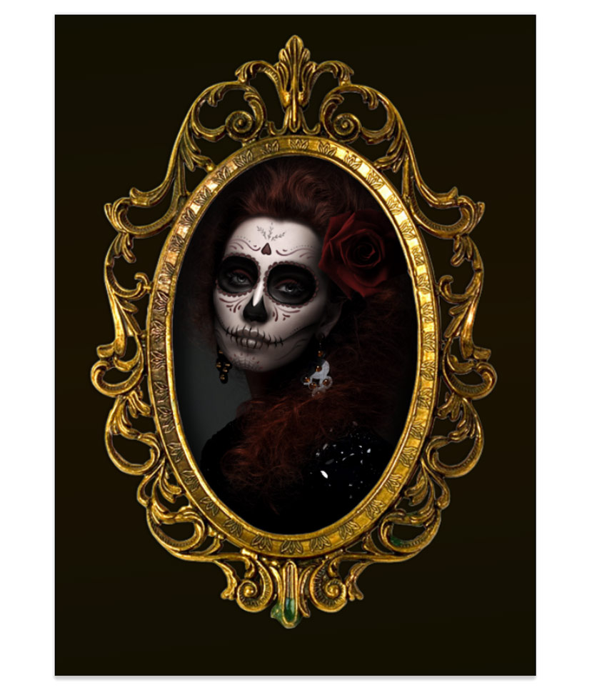 Calavera Portrait Photo Manipulation Progress