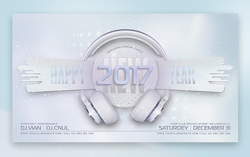 dj new years eve flyer template