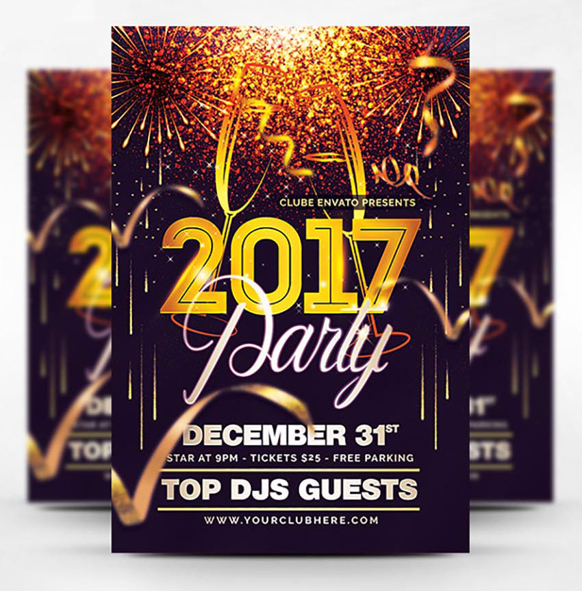Glittery New Year Party Flyer