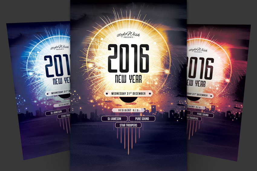 city new year flyer