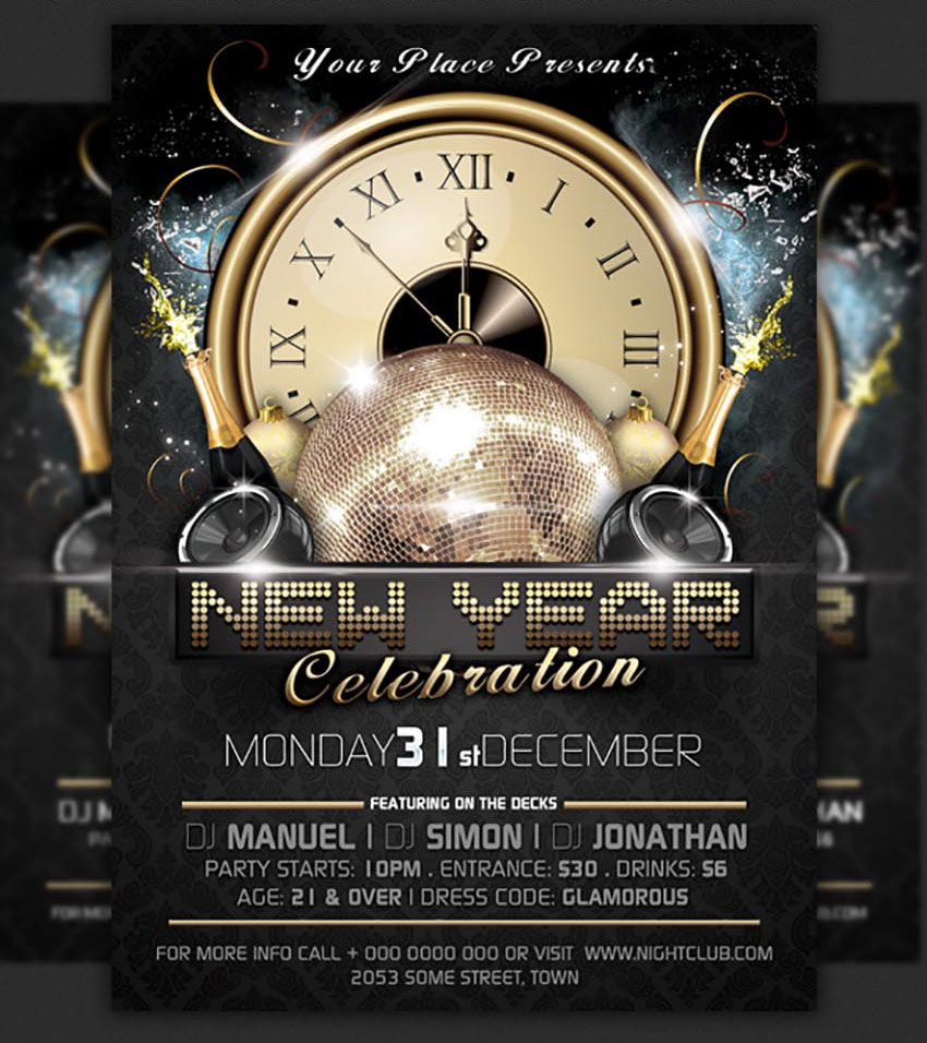 clock new years party flyer template
