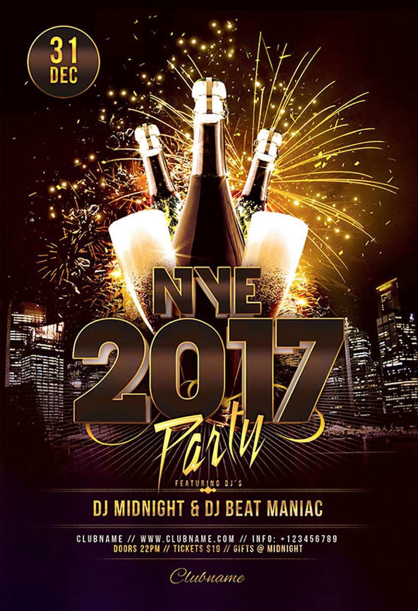 NYE 2017 Party Flyer