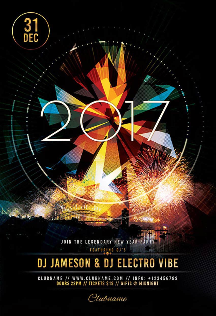 Geometric NYE 2017 Flyer