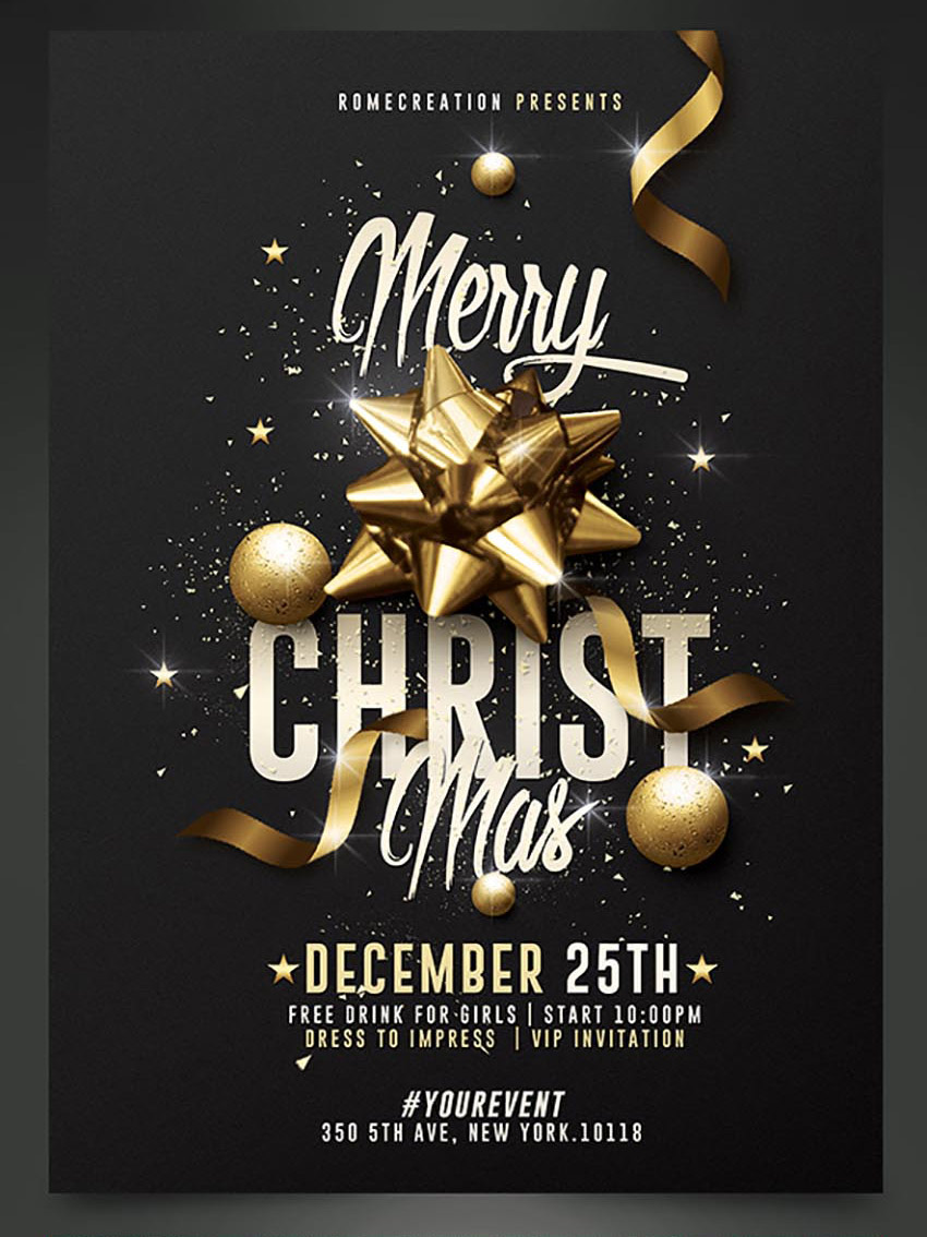 50 Amazing Christmas And New Years Eve Flyers For The Holiday Season