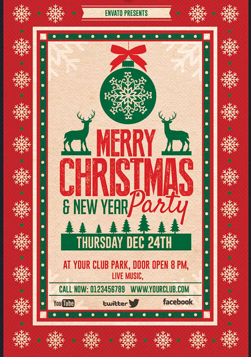 60 Amazing Christmas and NewYear's Eve Flyers for the Holiday Season