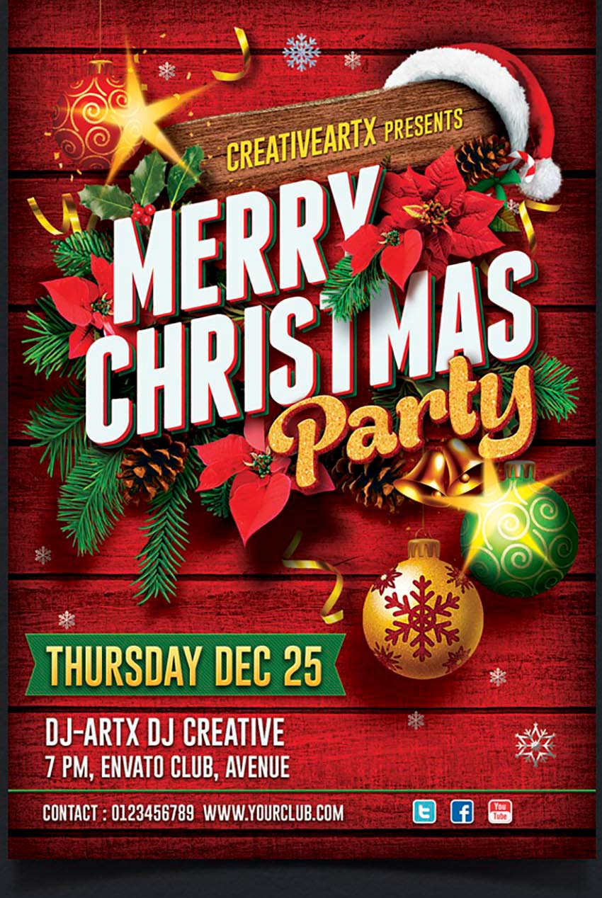 Christmas Decorations Party Flyer