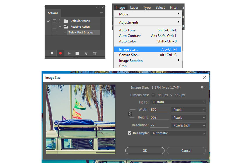 Recording a Resizing Photoshop Action