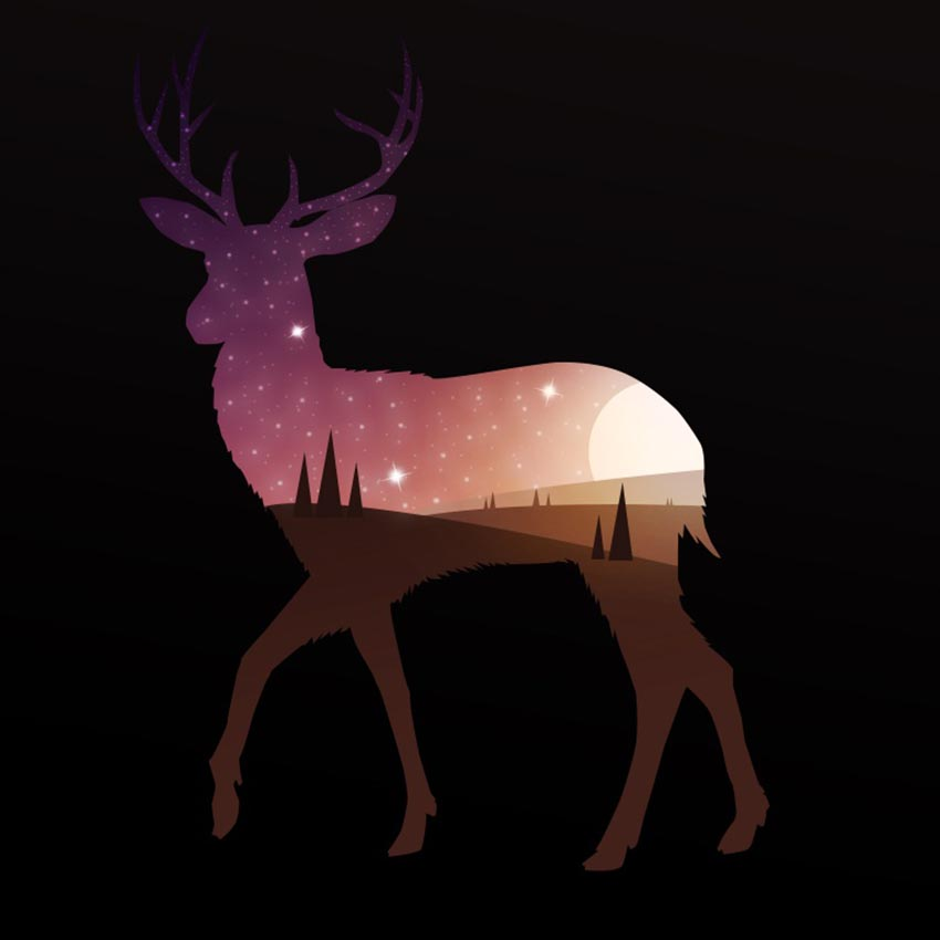 Double Exposure Deer Illustration by Misaki