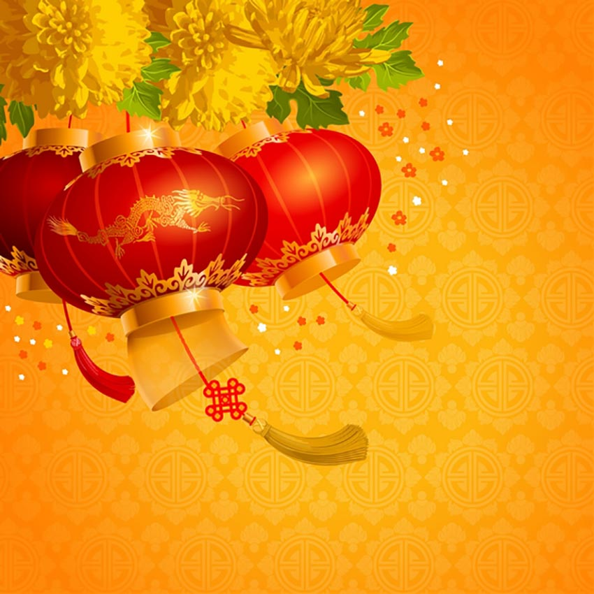 Chinese Lanterns - Yellow Background