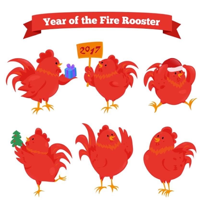 Cartoon Zodiac Fire Roosters