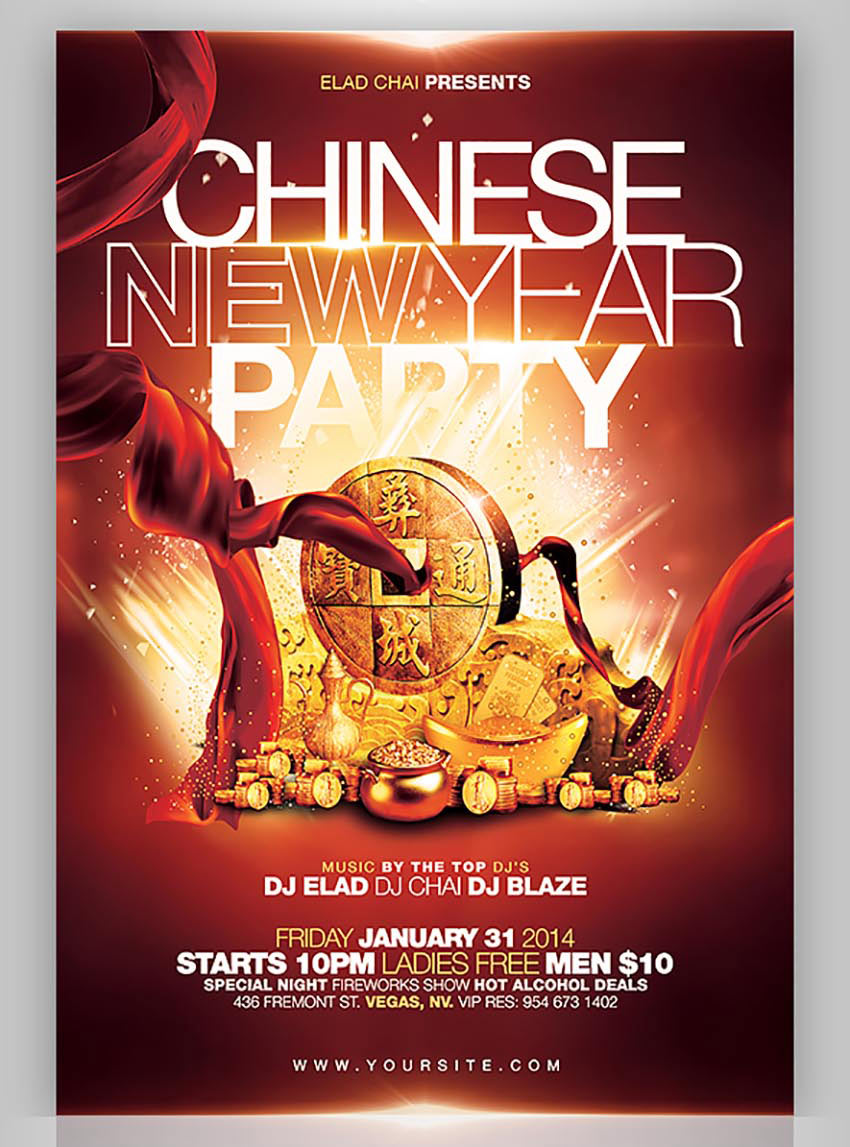 golden chinese new year party flyer - Chinese New Year Party
