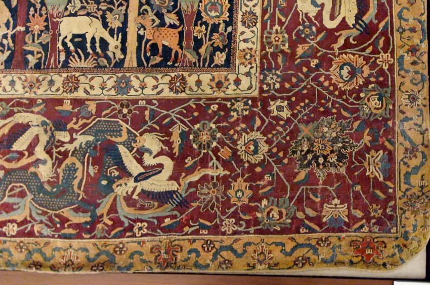 Detail View of the Persian Mantes Carpet