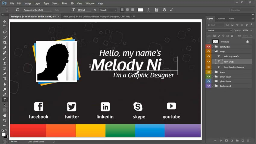Photoshop In Seconds How To Customize A Business Card Template - Business card template with photo
