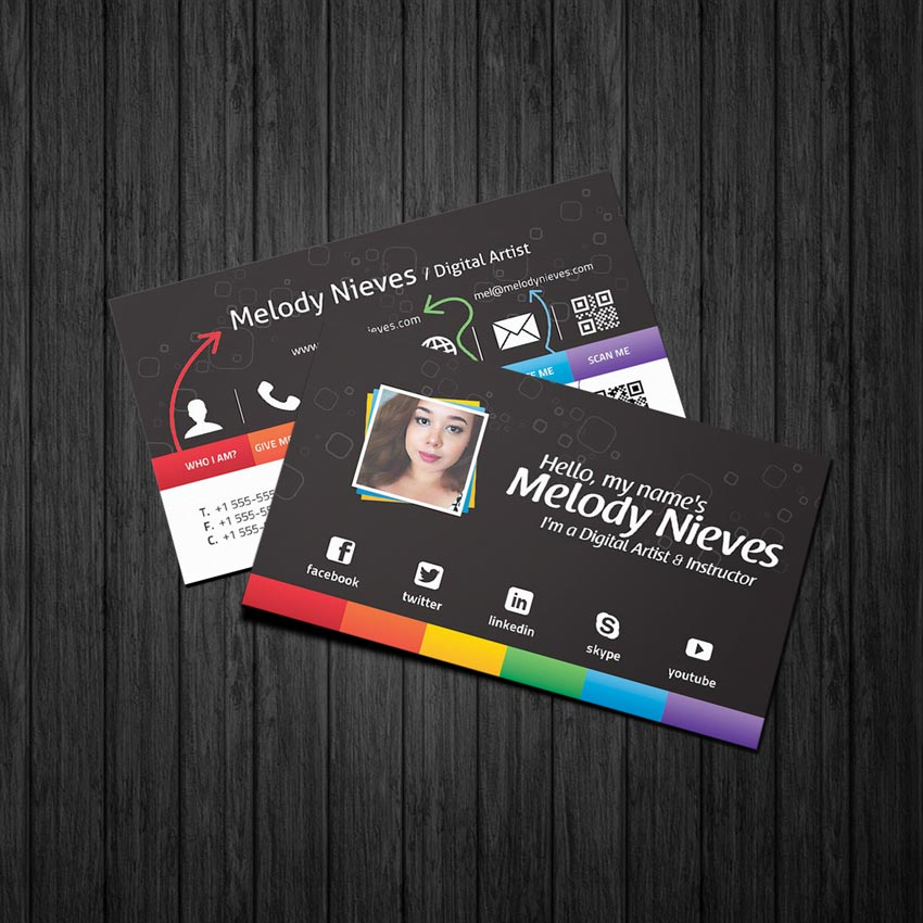 Photoshop in 60 seconds how to customize a business card template final business card edit reheart Images