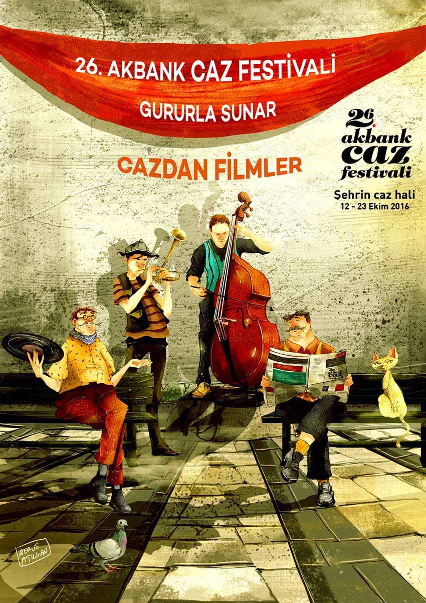 Poster for Akbank Sanat Jazz Festival by Merve Atilgan