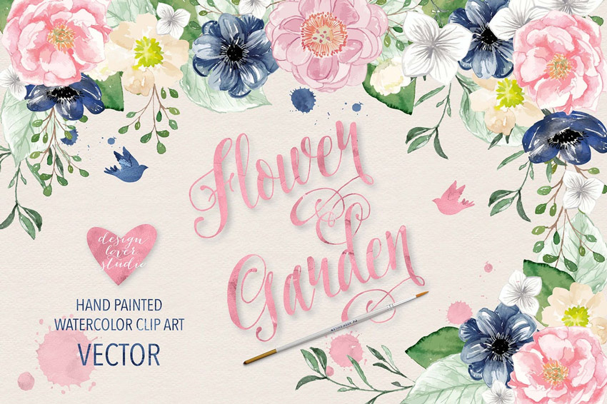 Vector Watercolor Color Flowers
