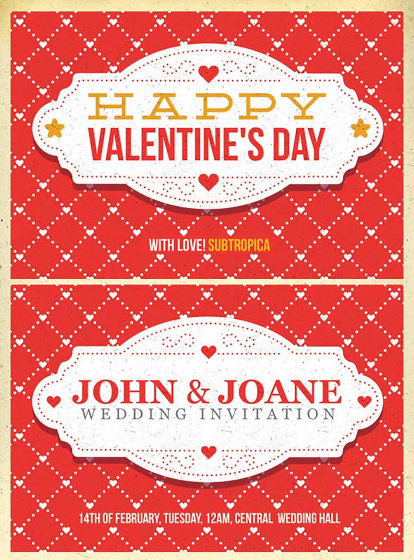 Valentines Day And Wedding Invitation Postcard