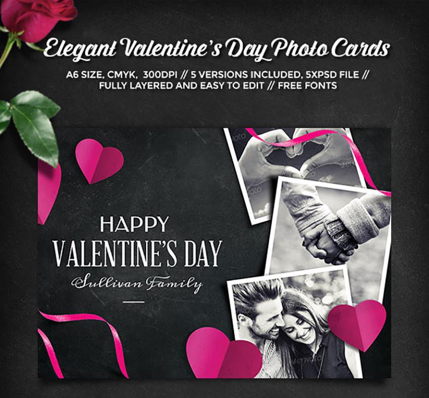 Elegant Valentines Day Photo Cards