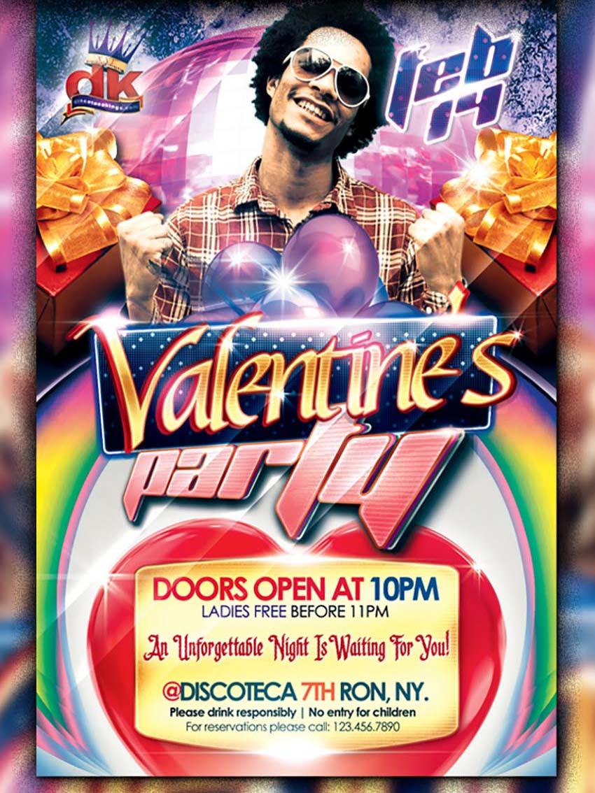 DJ Valentines Party Flyer Template