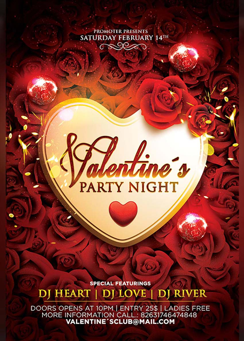 Valentines Party Night Flyer