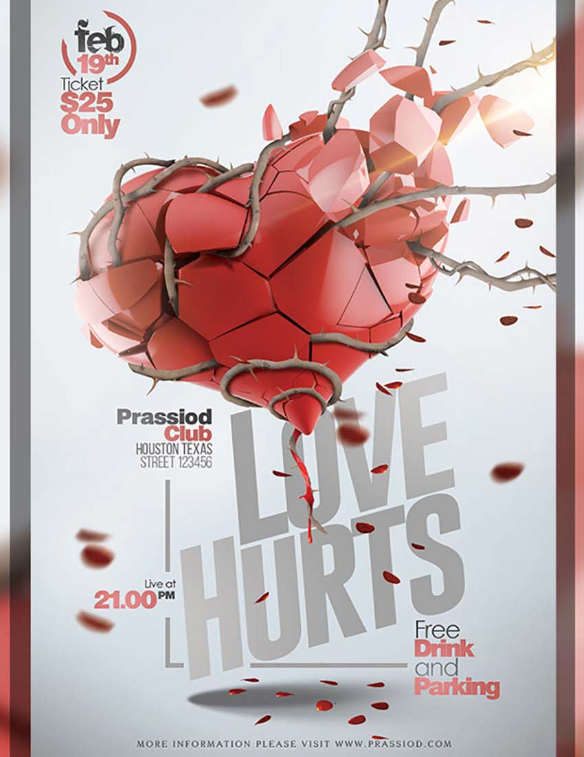 share the love 49 valentine s day templates flyers and cards love hurts valentine flyer template