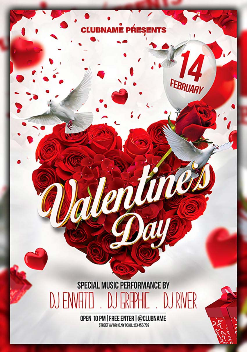 free valentines day flyer templates