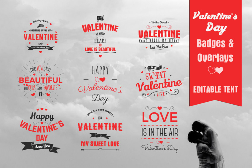 Valentines Day Badges  Overlays
