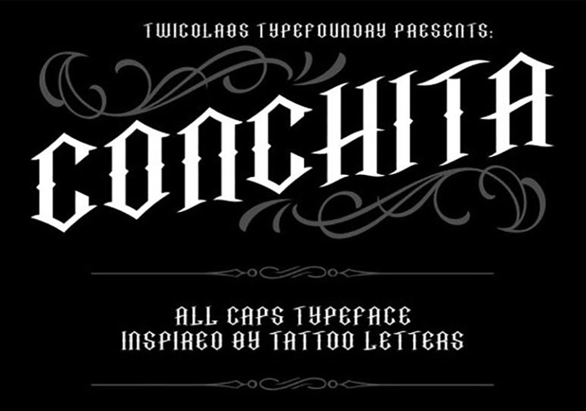 Conchita Typeface Tattoo Lettering