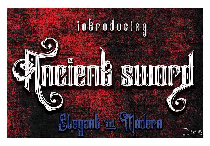 Ancient Sword Tattoo Fonts Cursive Elegant