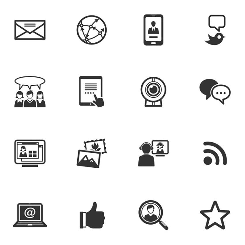 Black Minimal Social Media Icons