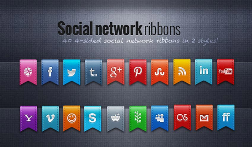 40 Social Network Ribbons
