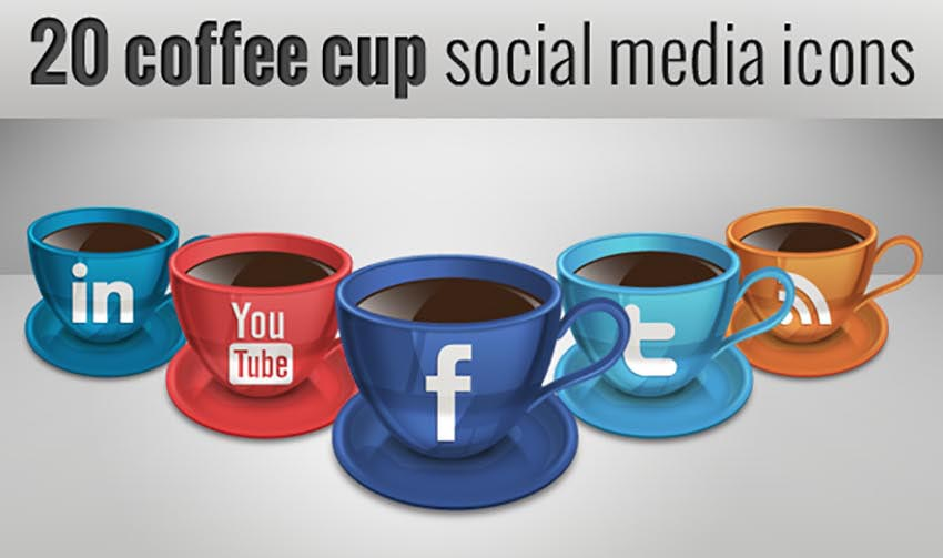 20 Coffee Cup Social Media Icons