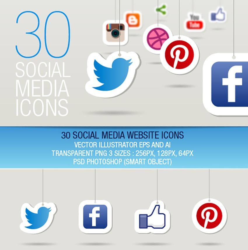 30 Hanging Social Media Icons