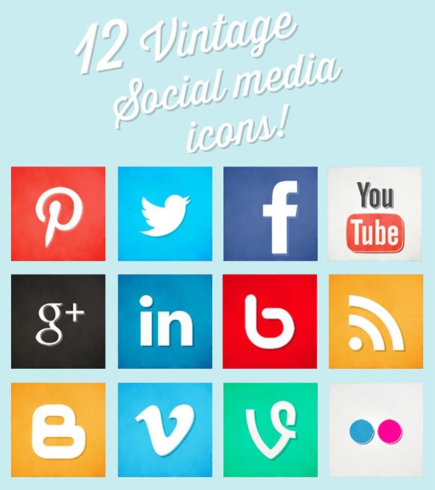 12 Vintage Social Media Icons
